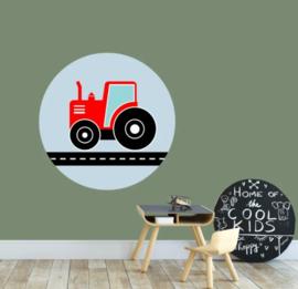 Muursticker kinderkamer - tractor rood