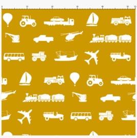Behangstaal voertuigen behang kinderkamer - oker