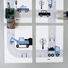 Posterset voertuigen graafmachine  kinderkamer - jeans blauw