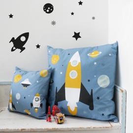 Kussen XL kinderkamer - ruimtevaart raket - inclusief binnenkussen