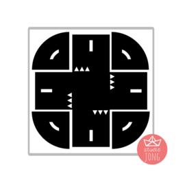 Sticker autobaan kruispunt XL - zwart