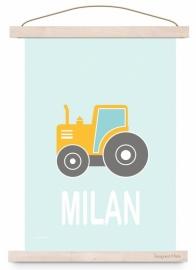 Poster kinderkamer tractor met naam