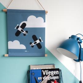 Textielposter kinderkamer  met vliegtuigen - jeans blauw
