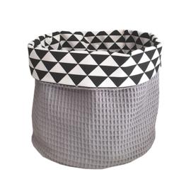 Commodemandje wafelstof grijs- driehoek zwart