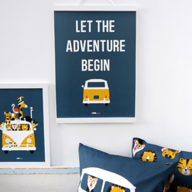 Poster VW bus met tekst Let the adventure begin  -  donker blauw