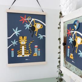 Poster jungle kinderkamer tijger + aap - donker blauw