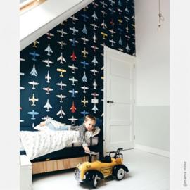 Vliegtuigen behang - donker