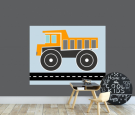 Behangpaneel jongenskamer - kiepwagen oranje