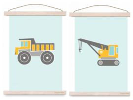 Poster set jongenskamer - kiepwagen + kraanwagen