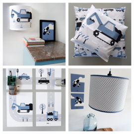 Kinderkamer aankleding en decoratie set - Voertuigen jeansblauw (met lamp)