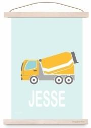 Poster kinderkamer cementwagen auto met naam