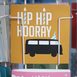 Verjaardagskaart VW bus oker