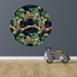 Muursticker rond - jungle kamer (zwart)