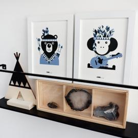 Posterset Indiaan aap + beer - jeansblauw 15x20 cm