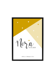 Geboorteposter Nora - diverse kleuren