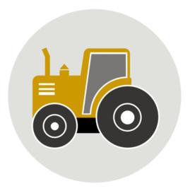 Behangcirkel kinderkamer - tractor oker