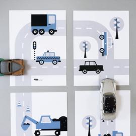 Posterset voertuigen auto  kinderkamer - jeans blauw