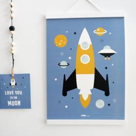 Poster kinderkamer ruimtevaart raket - jeans blauw
