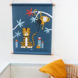 Textielposter jungle kinderkamer aap + tijger - blauw