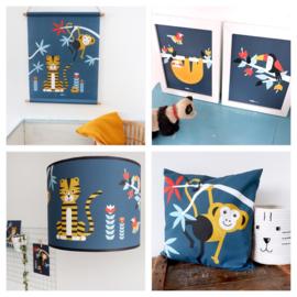Kinderkamer aankleding en decoratie set - Jungle donkerblauw (met lamp)
