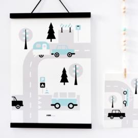 Poster kinderkamer caravan voertuigen - lichtblauw