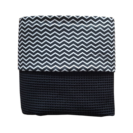 Ledikantdeken wafelstof zwart wit - zigzag