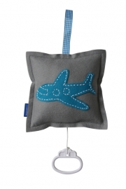 Muziekdoosje vliegtuig grijs - aquablauw