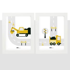 Posterset voertuigen graafmachine  kinderkamer - oker geel