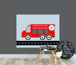 Behangpaneel jongenskamer - brandweer auto