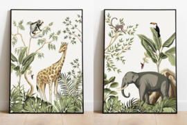 Poster set jungle kinderkamer babykamer - giraffe en olifant