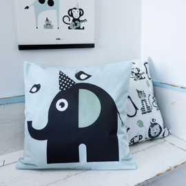 Kussen olifant  mint - inclusief binnenkussen