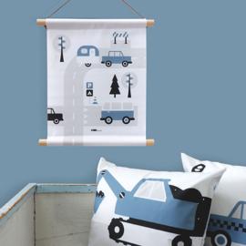 Textielposter caravan voertuigen kinderkamer - jeans blauw