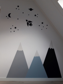 Raket ruimtevaart sticker op bergen wand kinderkamer Danielle