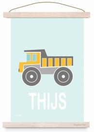 Poster kinderkamer kiepwagen auto met naam