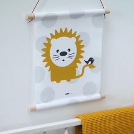 Textielposter leeuw kinderkamer - oker grijs