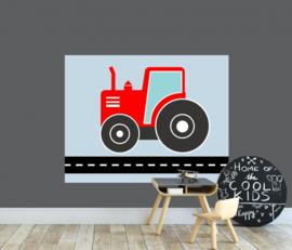 Behangpaneel jongenskamer - tractor rood