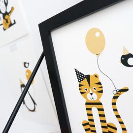 Posterset kinderkamer vrolijke dieren - oker