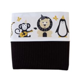 Ledikantdeken babykamer dieren oker geel - wafelstof zwart