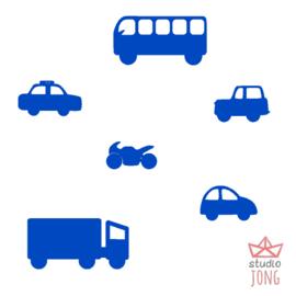 Autobaan sticker uitbreidingsset voertuigen blauw