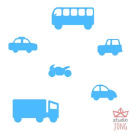 Autobaan sticker uitbreidingsset voertuigen lichtblauw