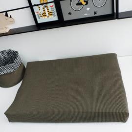 Aankleedkussenhoes babykamer wafelstof vintage groen - basic