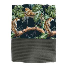 Ledikantdeken jungle babykamer -panters op zwart (diverse kleuren mogelijk)
