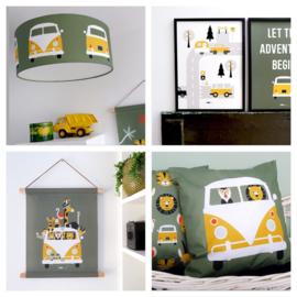 Kinderkamer aankleding en decoratie set - Safari VW bus olijfgroen oker (met lamp)