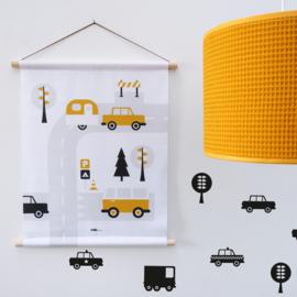 Textielposter caravan voertuigen kinderkamer - oker geel