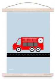 Poster brandweerauto brandweerkamer