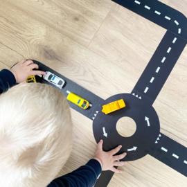 Vloer sticker set autobaan - zwart