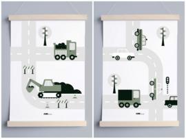 Poster set voertuigen kinderkamer - olijf groen