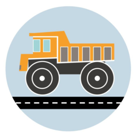Behangcirkel kinderkamer - kiepwagen oranje