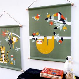 Textielposter jungle kamer toekan + luiaard - olijfgroen