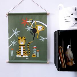 Textielposter jungle kinderkamer aap + tijger - olijfgroen
